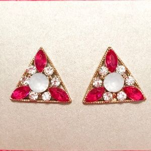 Triangle Gem Cluster Earrings